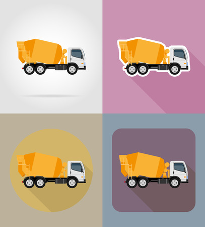 truck concrete mixer: truck concrete mixer for construction flat icons vector illustration isolated on background Stock Photo