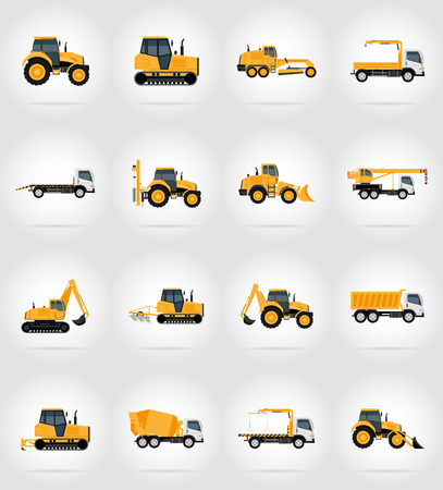 bitumen: automobile transport for repair and construction flat icons vector illustration isolated on background
