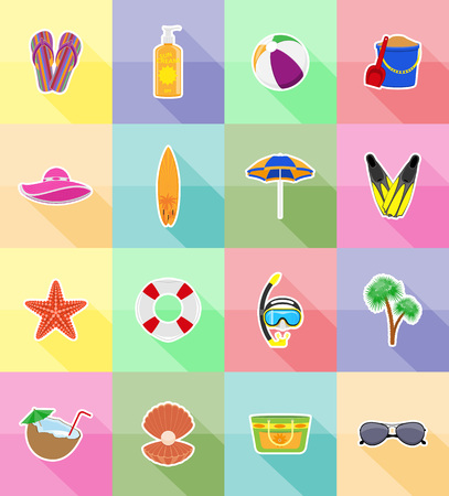 sandal tree: objects for recreation a beach flat icons vector illustration isolated on background