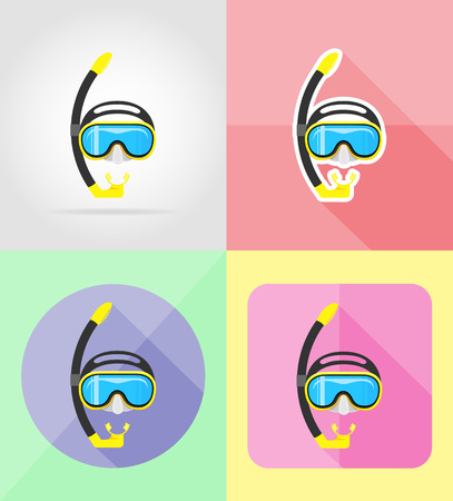 deepsea: mask and tube for diving flat icons vector illustration isolated on background