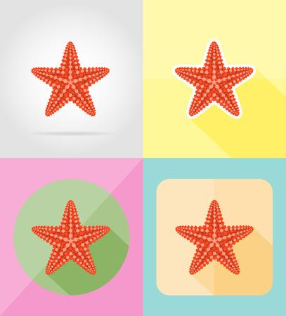 seafish: starfish flat icons vector illustration isolated on background