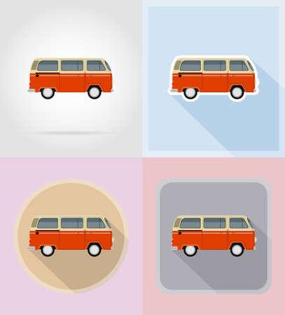 obsolete: retro minivan flat icons vector illustration isolated on background