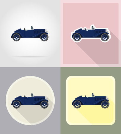 old retro car flat icons vector illustration isolated on background