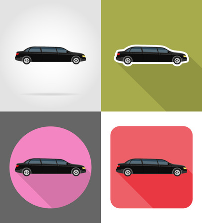 car limousine flat icons vector illustration isolated on background