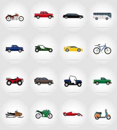 excursion: transport flat icons vector illustration isolated on background