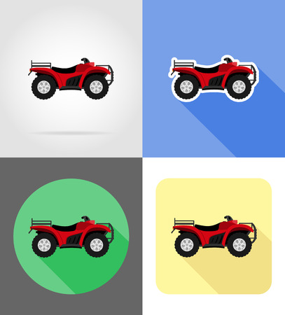 atv motorcycle on four wheels off roads flat icons vector illustration isolated on background
