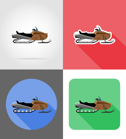 snowmobile for snow ride flat icons vector illustration isolated on background