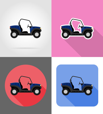 atv car buggy off roads flat icons vector illustration isolated on background Stock Photo