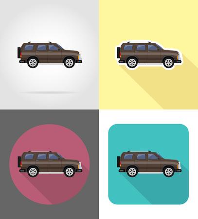 suv car flat icons vector illustration isolated on background Stock Photo