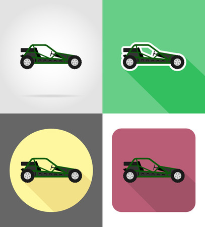 atv car buggy off roads flat icons vector illustration isolated on background Stock fotó