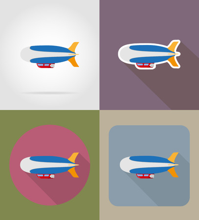 blimps: zeppelin flat icons vector illustration isolated on background