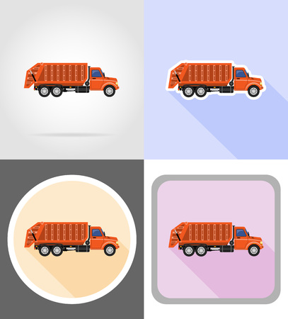 truck remove garbage flat icons vector illustration isolated on background
