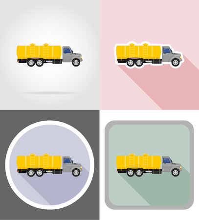 with liquids: truck with tank for transporting liquids flat icons vector illustration isolated on background