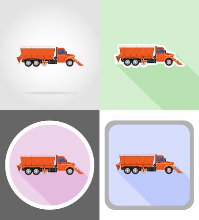 clearing: truck clearing snow and sprinkled on the road flat icons vector illustration isolated on background