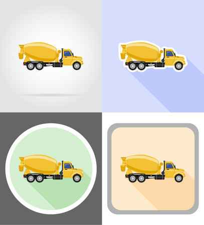 truck concrete mixer: truck concrete mixer flat icons vector illustration isolated on background