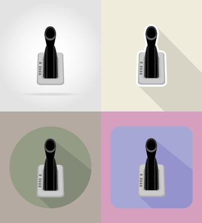 palanca: coche de la palanca de cambios iconos planos ilustración vectorial aislado en el fondo