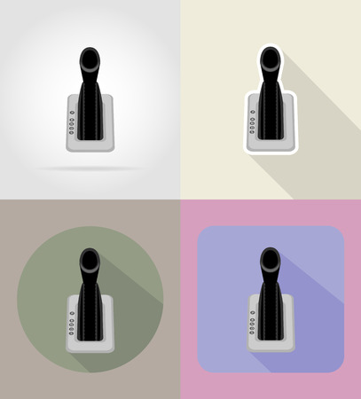 car gear lever flat icons vector illustration isolated on background Stock Photo