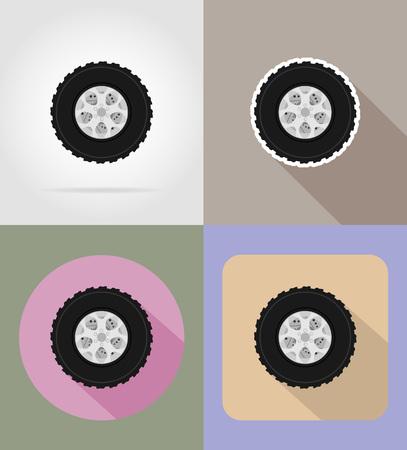 motorized: wheel for car flat icons vector illustration isolated on background