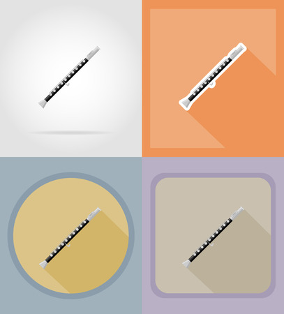 flute flat icons vector illustration isolated on background Stock Photo