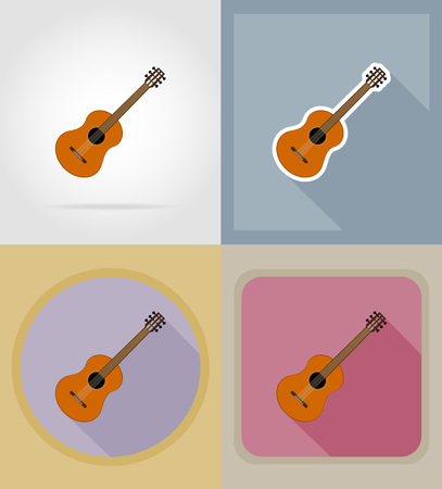 melodist: acoustic guitar flat icons vector illustration isolated on background