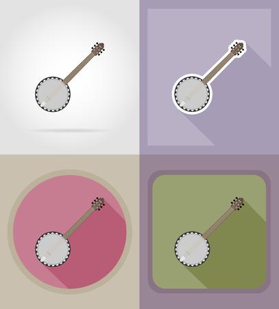 melodist: banjo flat icons vector illustration isolated on background
