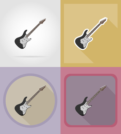 melodist: electric guitar flat icons vector illustration isolated on background Stock Photo