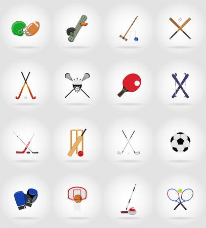 sport equipment flat icons illustration isolated on background Stock Photo