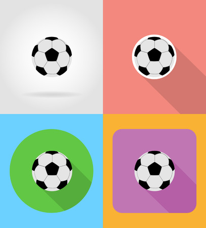 football soccer ball flat icons vector illustration isolated on background Stock Photo