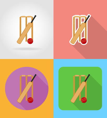 set equipment for cricket flat icons vector illustration isolated on background Stock Photo