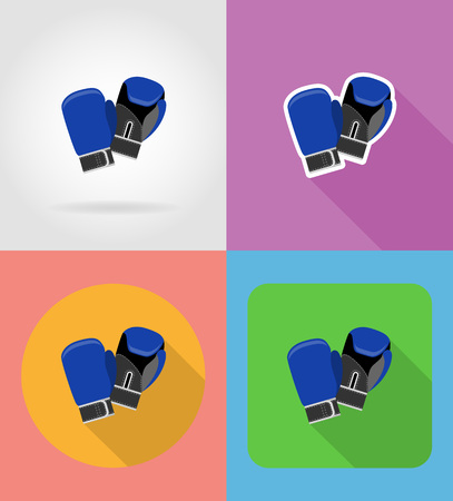 boxing gloves flat icons vector illustration isolated on background Stock Photo