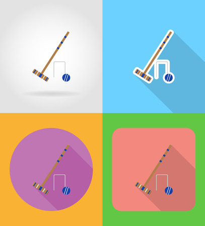 wicket gate: set equipment for croquet flat icons vector illustration isolated on background