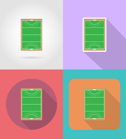 hockey cesped: field of play in hockey on grass flat icons vector illustration isolated on background