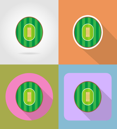 wicket gate: playground for cricket flat icons vector illustration isolated on background