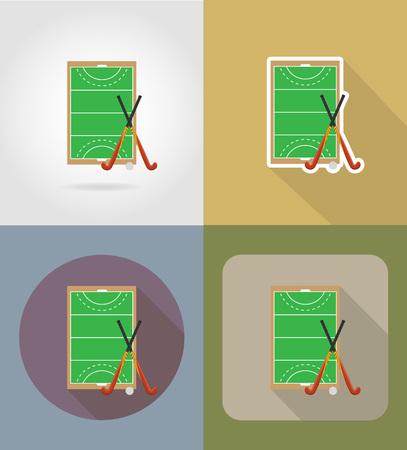 hockey cesped: terreno de juego en el hockey sobre iconos planos ilustración vectorial hierba aislado en el fondo