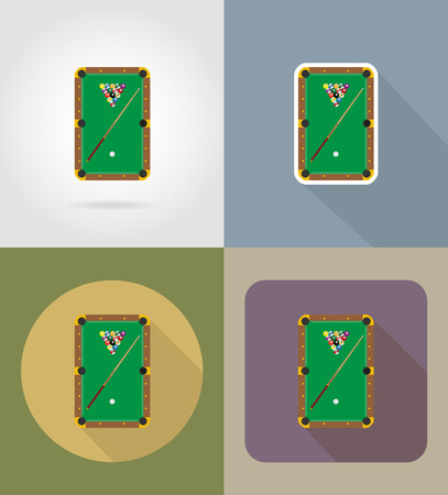billiards table: billiards table flat icons vector illustration isolated on background