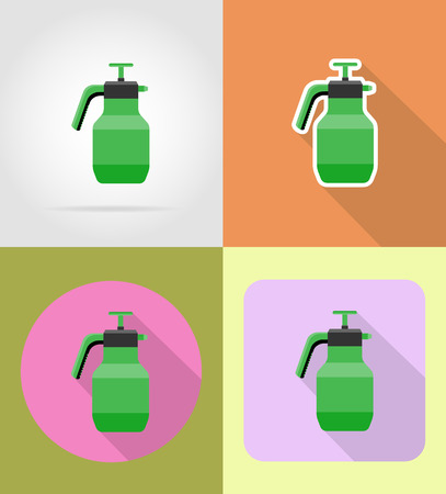 sprayer: gardening tool sprayer flat icons vector illustration isolated on background Stock Photo