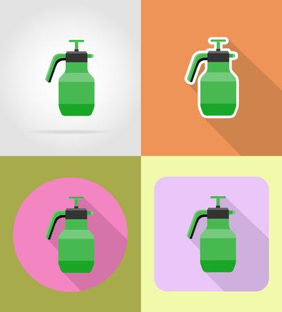 gardening tool sprayer flat icons vector illustration isolated on background Stock Photo