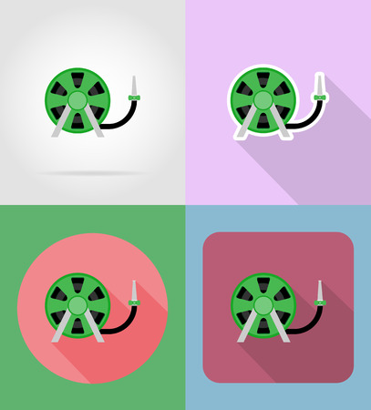 land development: gardening tool hose for watering flat icons vector illustration isolated on background