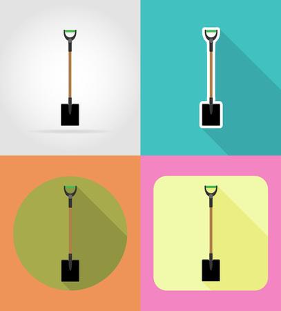 gardening tool: gardening tool shovel flat icons vector illustration isolated on background
