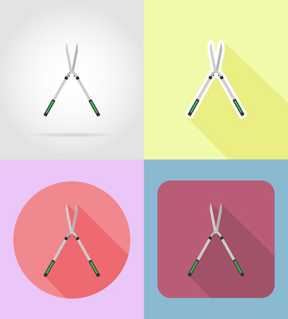 gardening tool: gardening tool secateurs flat icons vector illustration isolated on background