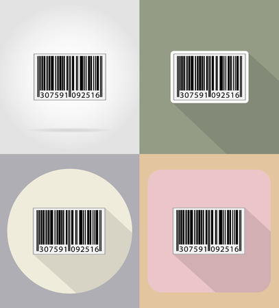 shipper: barcode flat icons vector illustration isolated on background