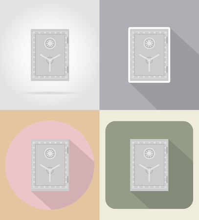 combination: safe with combination lock flat icons vector illustration isolated on background