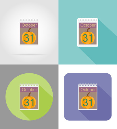 october 31: calendar with the date of october 31 halloween flat icons vector illustration isolated on background