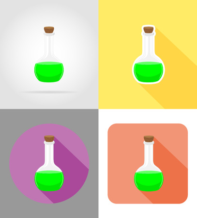 glass test tube flat icons vector illustration isolated on background Stock Photo