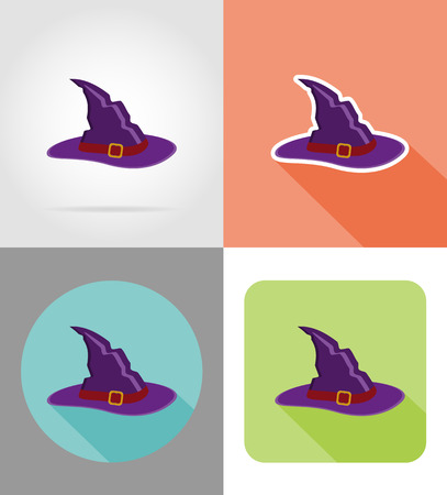 witchery: halloween witch hat flat icons vector illustration isolated on background