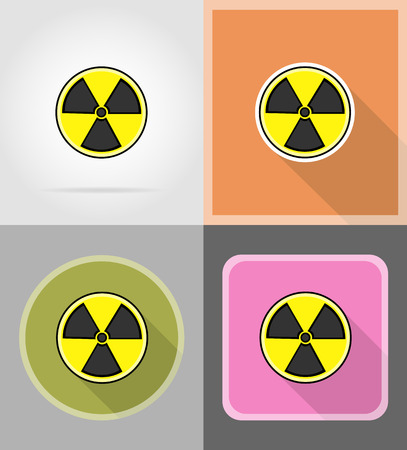 caustic: sign radiation flat icons vector illustration isolated on background