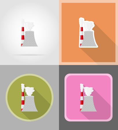 plutonium: nuclear reactor flat icons vector illustration isolated on background