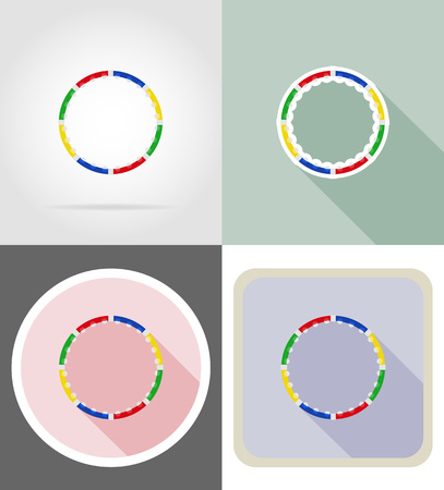 hula hoop: dynamic health hoop for fitness flat icons vector illustration isolated on background