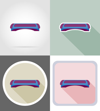 step fitness: fitness step board flat icons vector illustration isolated on background