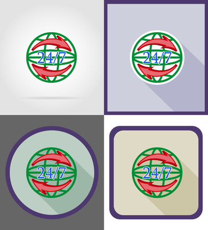 moving crate: symbol delivery worldwide round the clock flat icons vector illustration isolated on background
